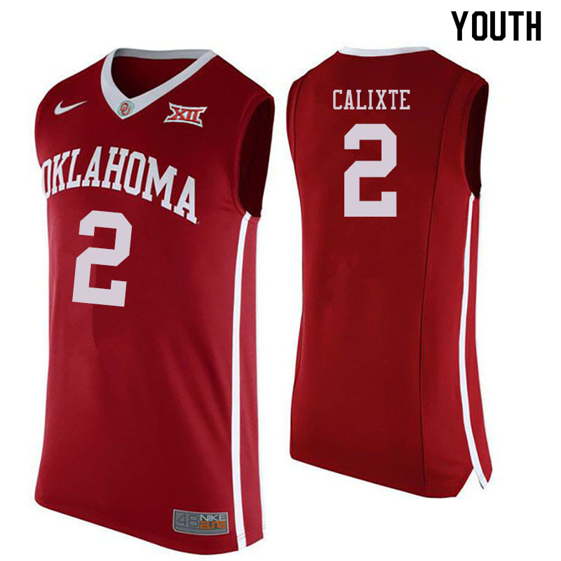 Youth #2 Aaron Calixte Oklahoma Sooners College Basketball Jersyes Sale-Crimson