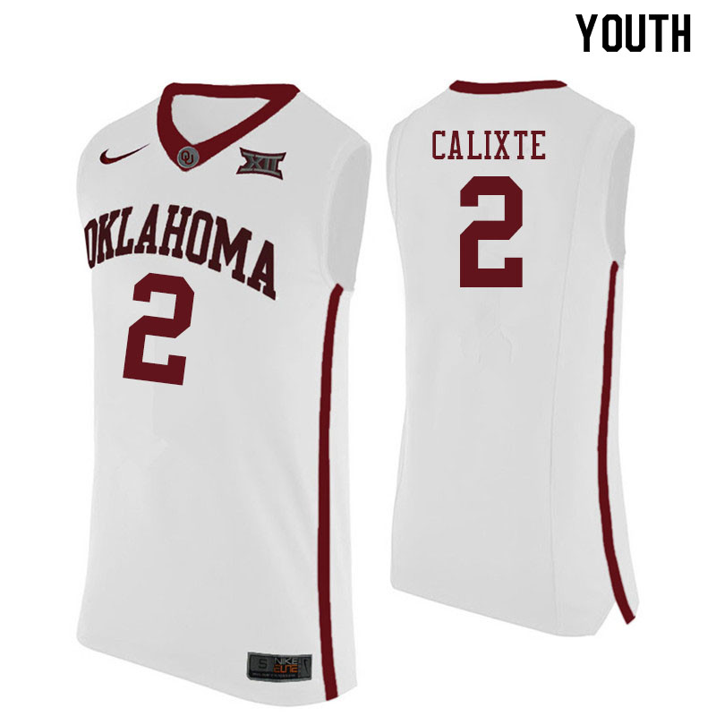 Youth #2 Aaron Calixte Oklahoma Sooners College Basketball Jersyes Sale-White