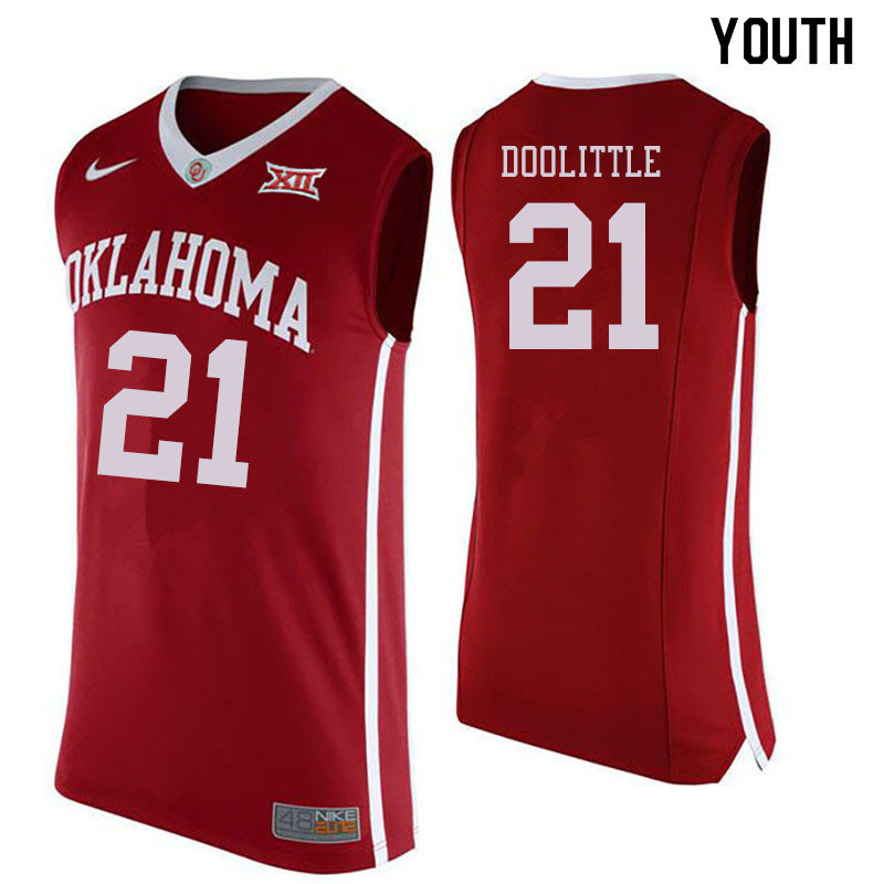 Youth #21 Kristian Doolittle Oklahoma Sooners College Basketball Jersyes Sale-Crimson