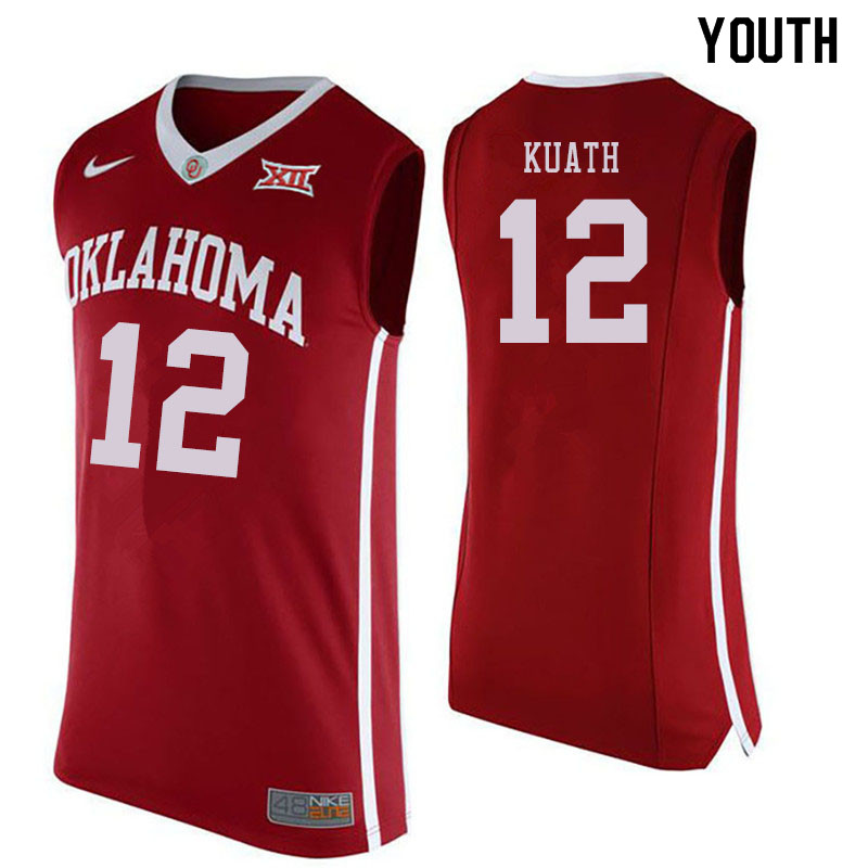 Youth #12 Kur Kuath Oklahoma Sooners College Basketball Jersyes Sale-Crimson