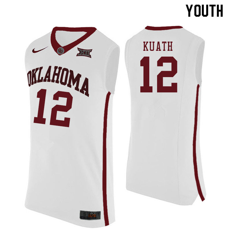 Youth #12 Kur Kuath Oklahoma Sooners College Basketball Jersyes Sale-White