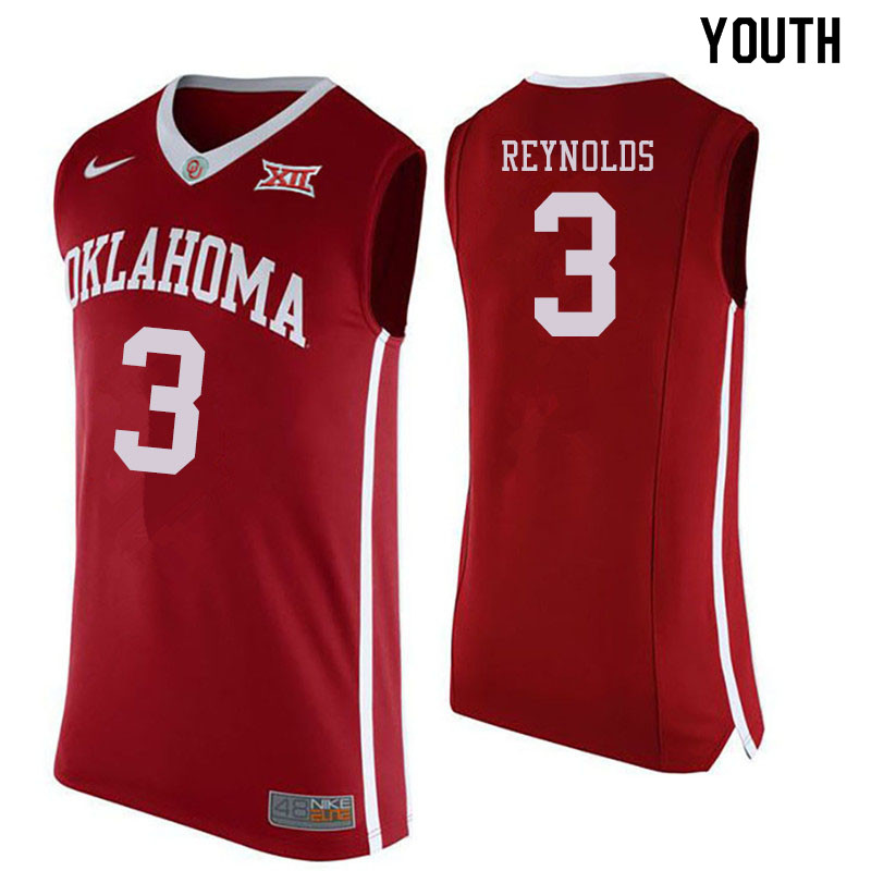 Youth #3 Miles Reynolds Oklahoma Sooners College Basketball Jersyes Sale-Crimson