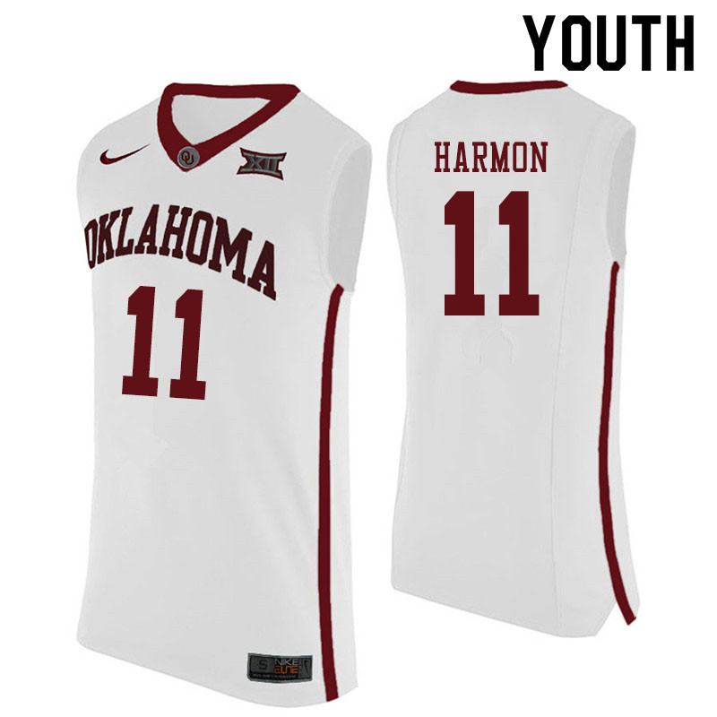 Youth #11 De'Vion Harmon Oklahoma Sooners College Basketball Jerseys Sale-White