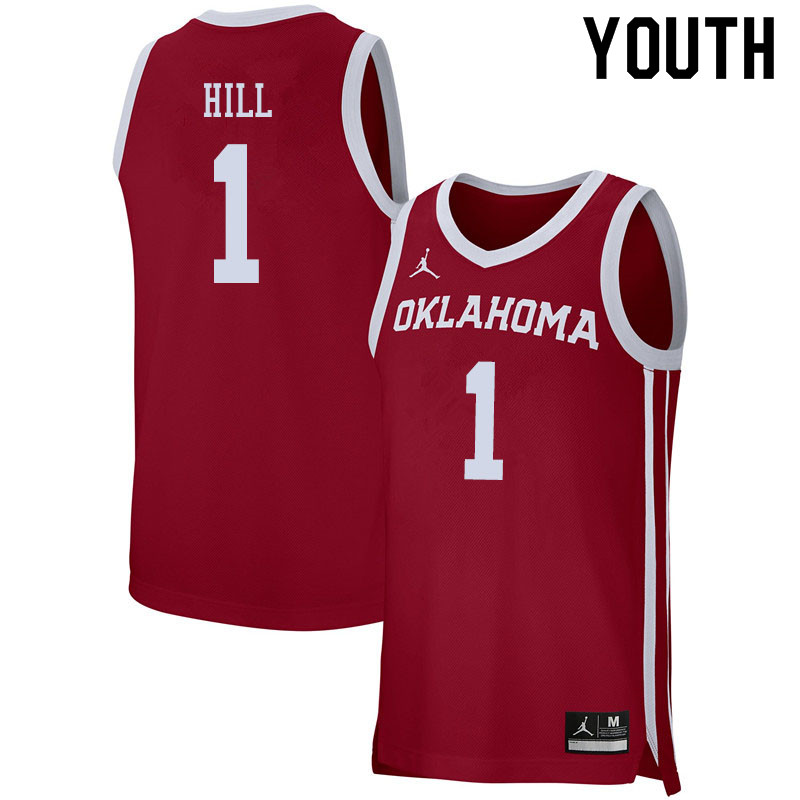 Jordan Brand Youth #1 Jalen Hill Oklahoma Sooners College Basketball Jerseys Sale-Crimson