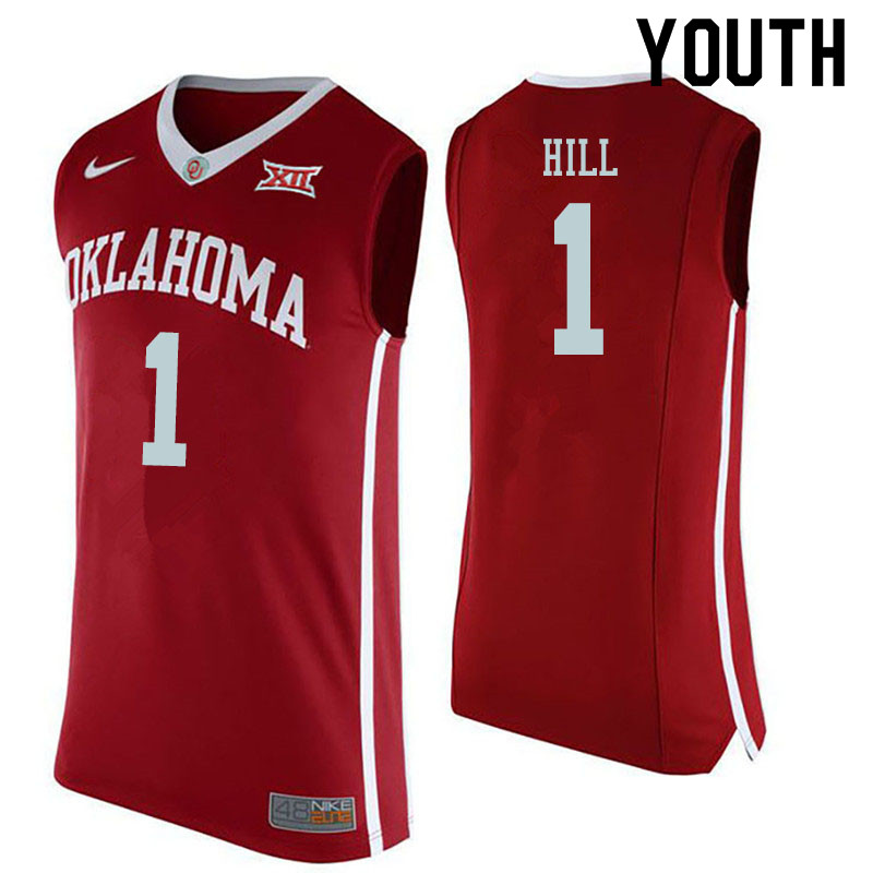 Youth #1 Jalen Hill Oklahoma Sooners College Basketball Jerseys Sale-Red