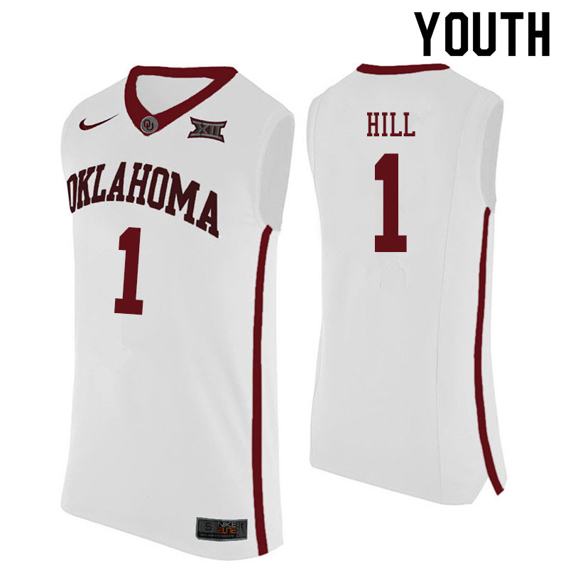Youth #1 Jalen Hill Oklahoma Sooners College Basketball Jerseys Sale-White