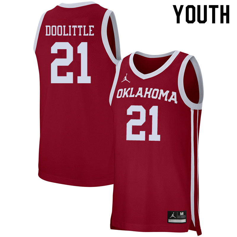 Jordan Brand Youth #21 Kristian Doolittle Oklahoma Sooners College Basketball Jerseys Sale-Crimson