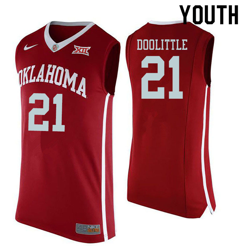 Youth #21 Kristian Doolittle Oklahoma Sooners College Basketball Jerseys Sale-Red