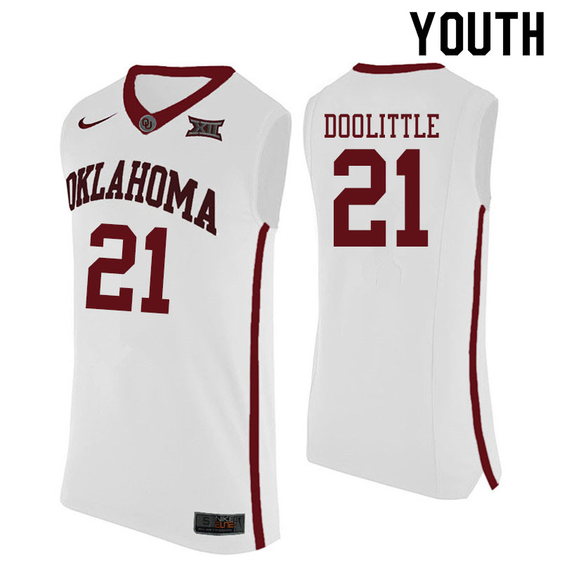 Youth #21 Kristian Doolittle Oklahoma Sooners College Basketball Jerseys Sale-White