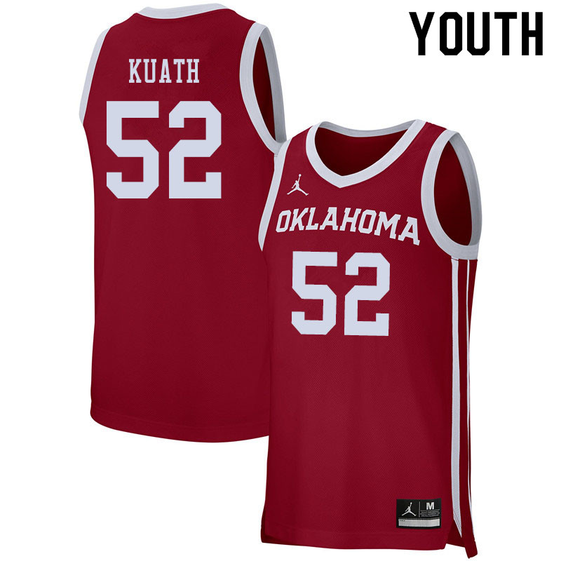 Jordan Brand Youth #52 Kur Kuath Oklahoma Sooners College Basketball Jerseys Sale-Crimson