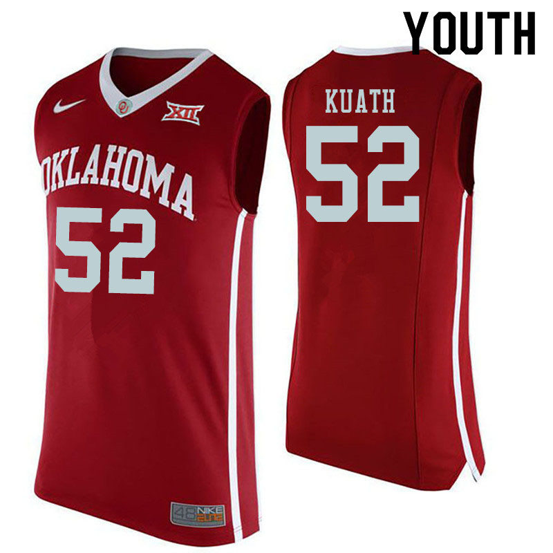 Youth #52 Kur Kuath Oklahoma Sooners College Basketball Jerseys Sale-Red
