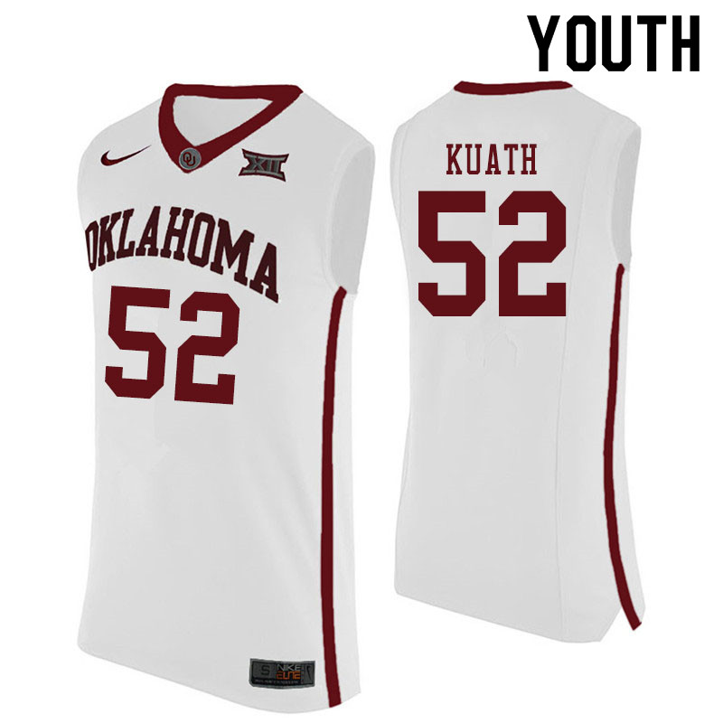 Youth #52 Kur Kuath Oklahoma Sooners College Basketball Jerseys Sale-White