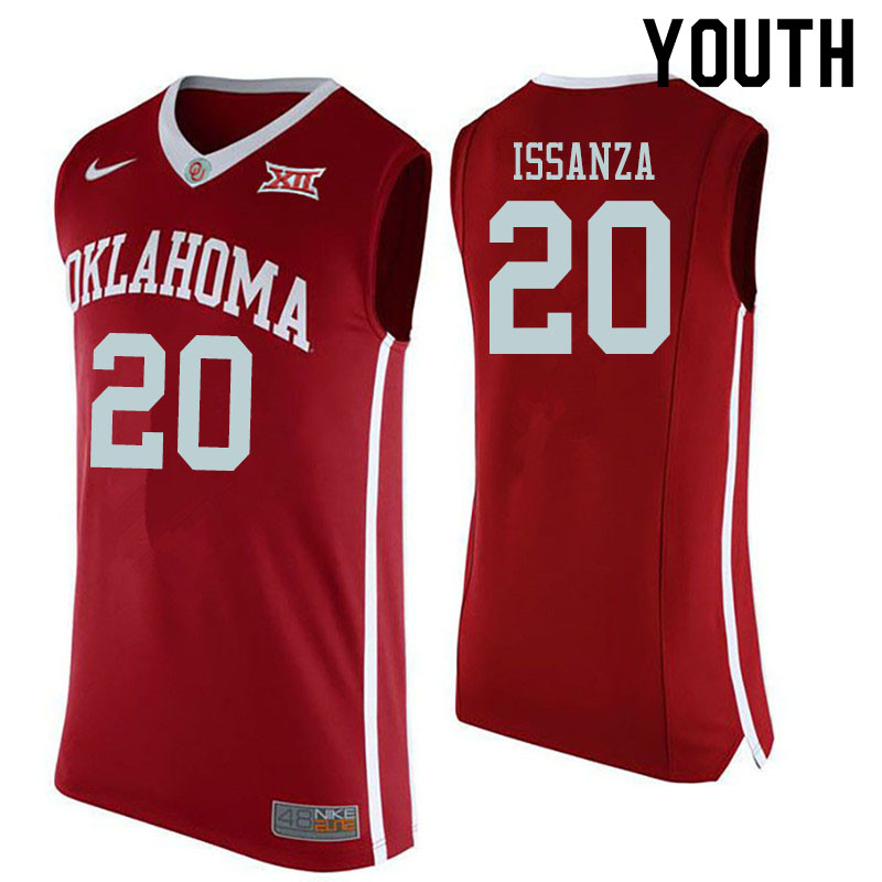 Youth #20 Rick Issanza Oklahoma Sooners College Basketball Jerseys Sale-Red