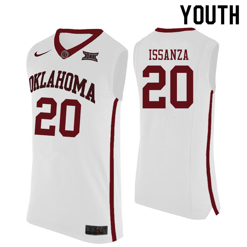 Youth #20 Rick Issanza Oklahoma Sooners College Basketball Jerseys Sale-White