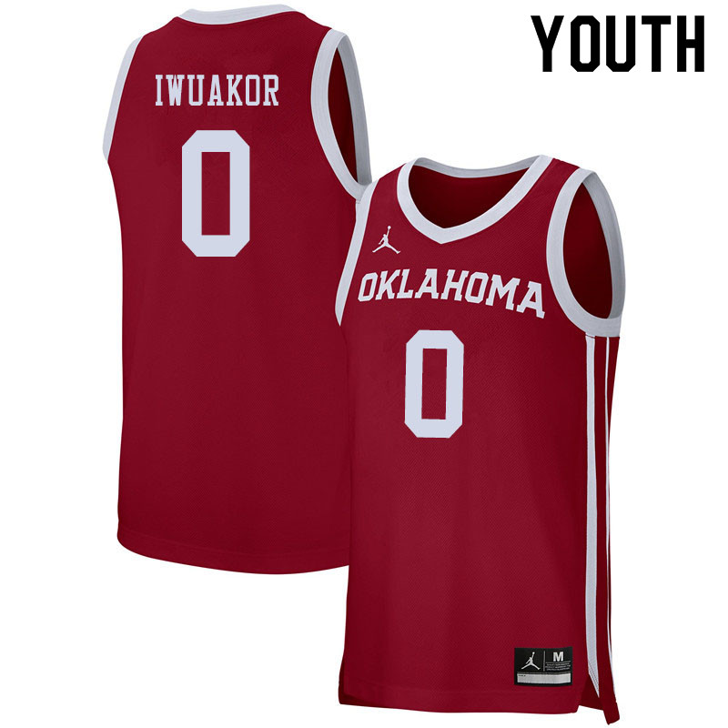 Jordan Brand Youth #0 Victor Iwuakor Oklahoma Sooners College Basketball Jerseys Sale-Crimson
