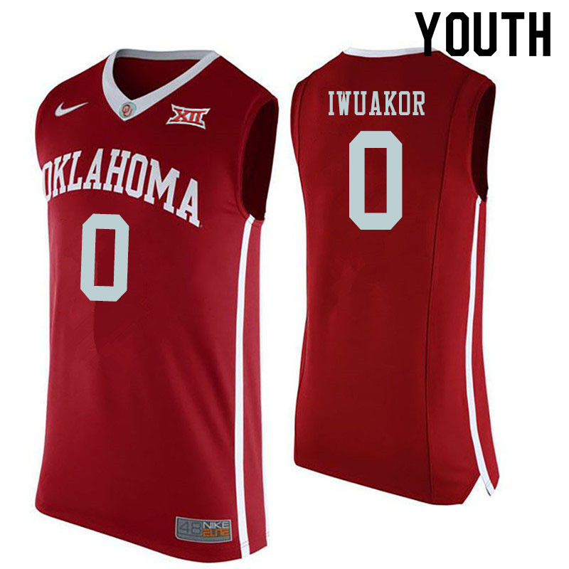 Youth #0 Victor Iwuakor Oklahoma Sooners College Basketball Jerseys Sale-Red