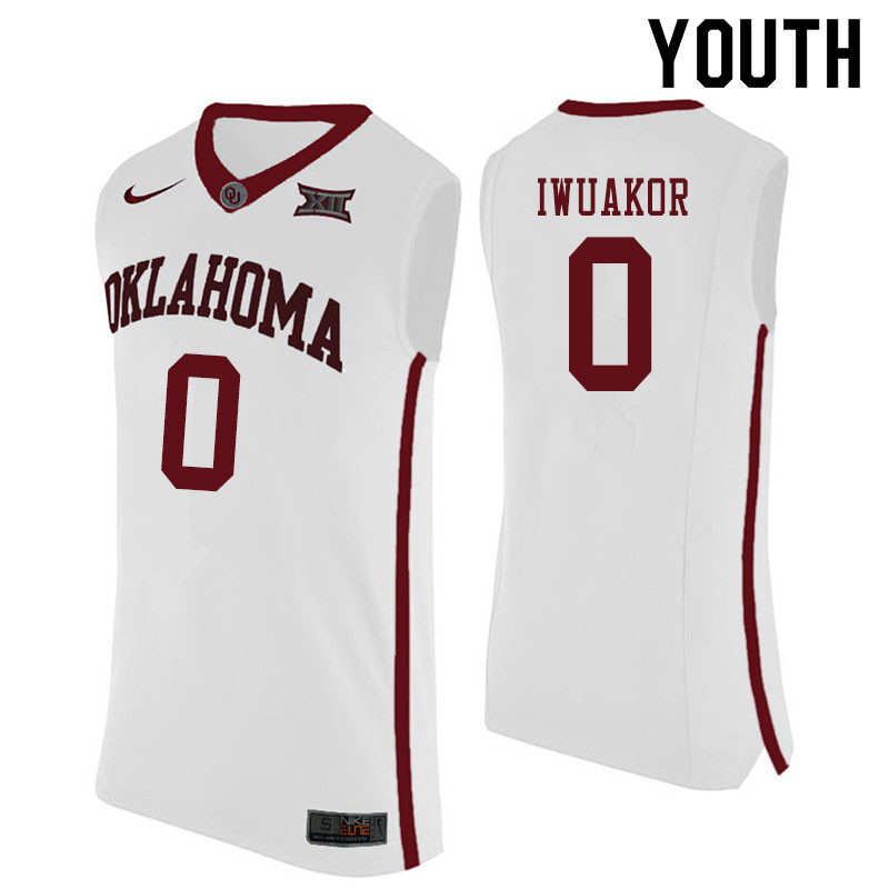Youth #0 Victor Iwuakor Oklahoma Sooners College Basketball Jerseys Sale-White