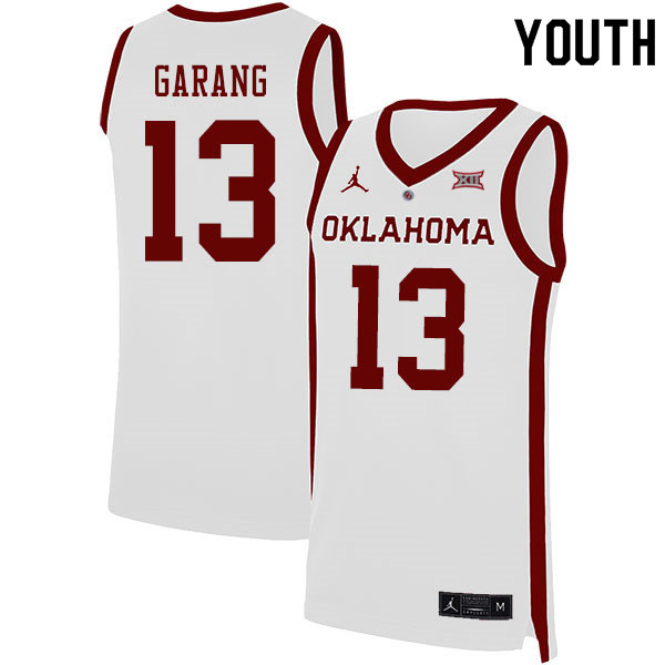 Youth #13 Anyang Garang Oklahoma Sooners College Basketball Jerseys Sale-White