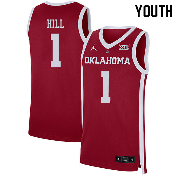 Youth #1 Jalen Hill Oklahoma Sooners College Basketball Jerseys Sale-Crimson