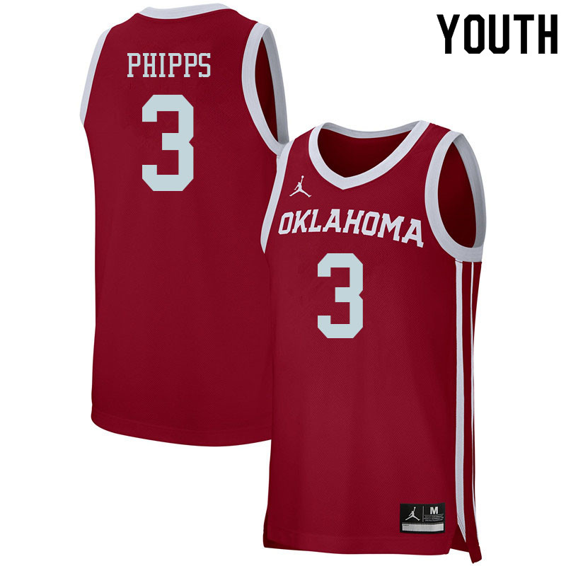 Youth #3 Trey Phipps Oklahoma Sooners College Basketball Jerseys Sale-Crimson
