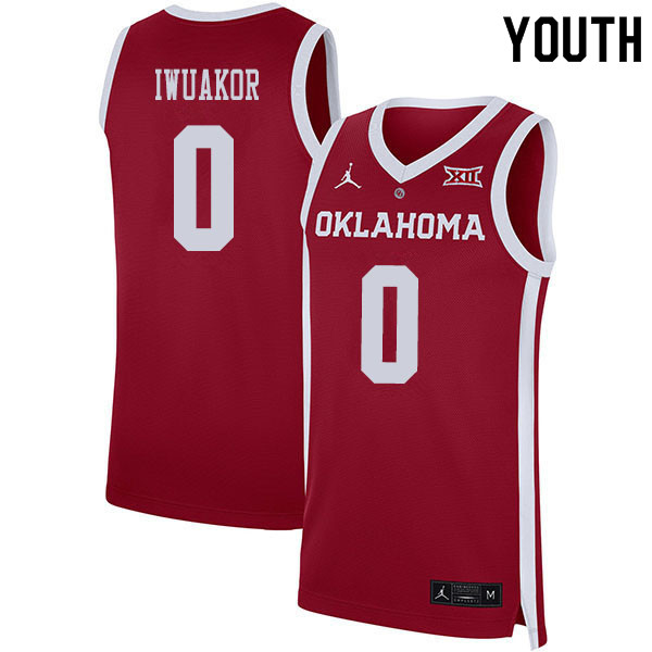 Youth #0 Victor Iwuakor Oklahoma Sooners College Basketball Jerseys Sale-Crimson