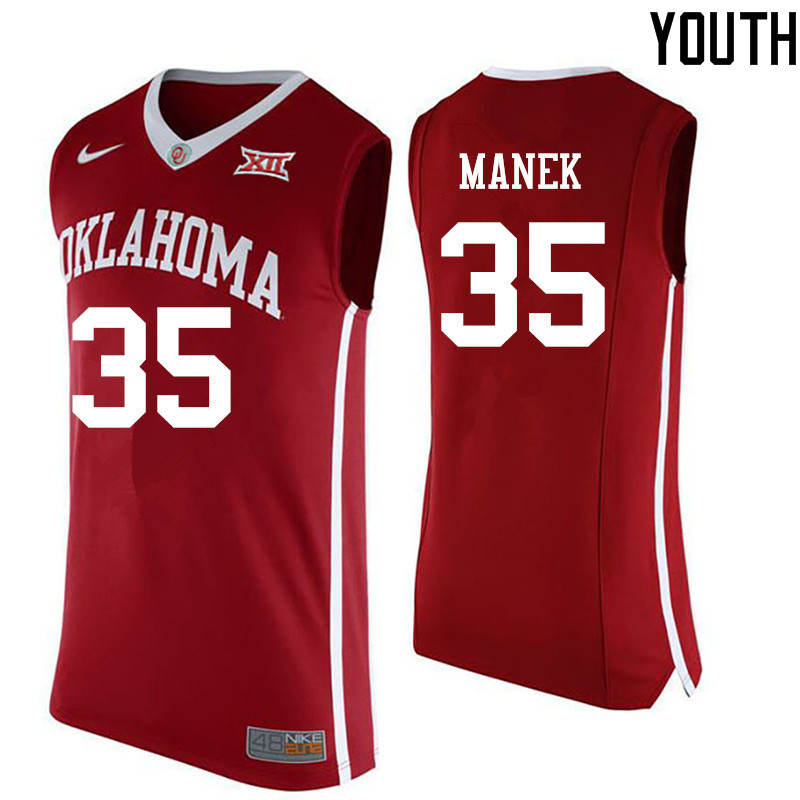 Youth Oklahoma Sooners #35 Brady Manek College Basketball Jerseys-Red