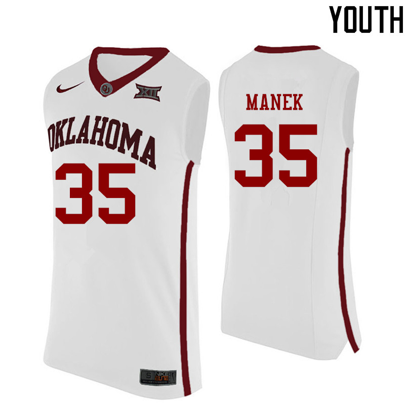 Youth Oklahoma Sooners #35 Brady Manek College Basketball Jerseys-White
