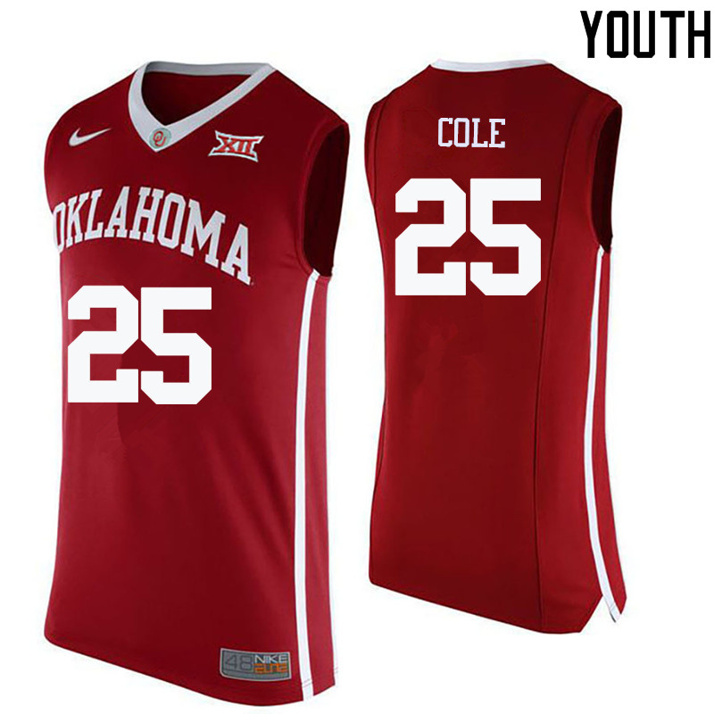 Youth Oklahoma Sooners #25 C.J. Cole College Basketball Jerseys-Crimson