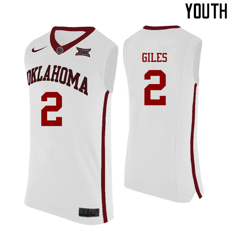 Youth Oklahoma Sooners #2 Chris Giles College Basketball Jerseys-White