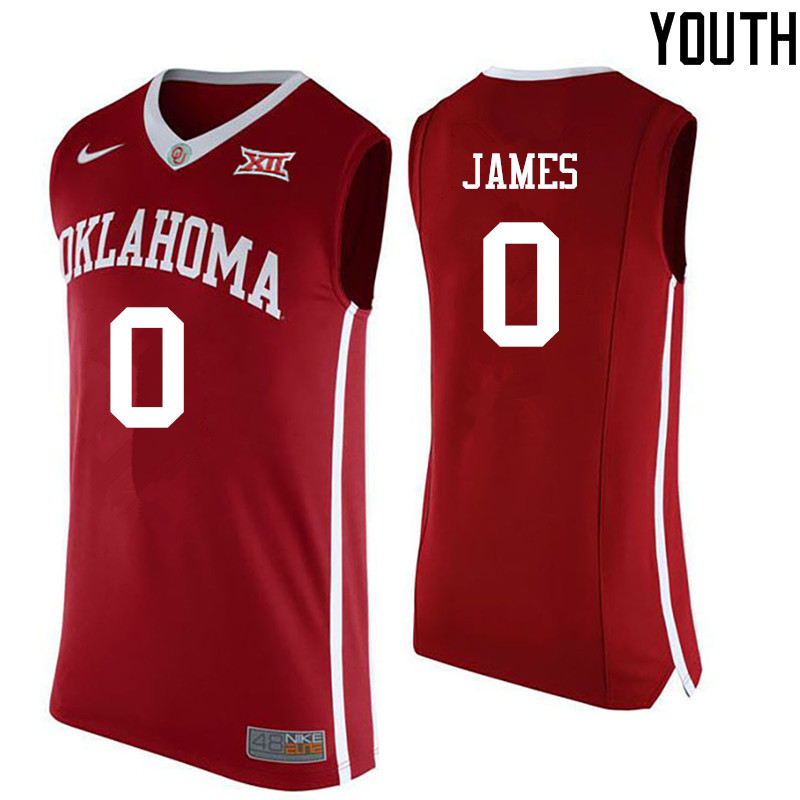 Youth Oklahoma Sooners #0 Christian James College Basketball Jerseys-Red
