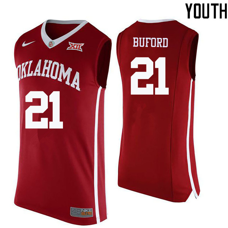 Youth Oklahoma Sooners #21 Dante Buford College Basketball Jerseys-Crimson