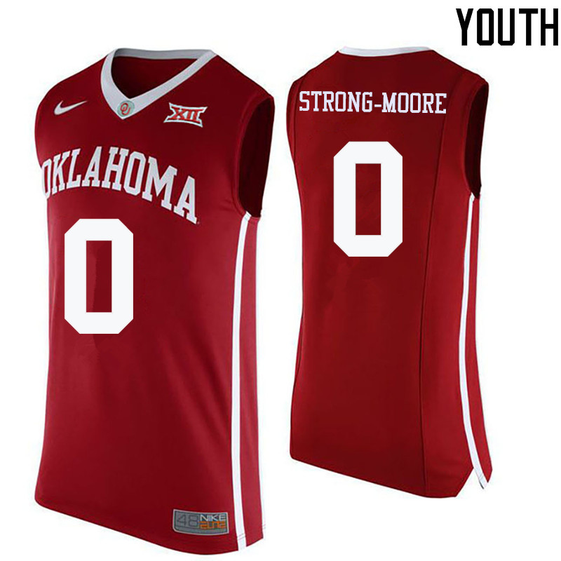Youth Oklahoma Sooners #0 Darrion Strong-Moore College Basketball Jerseys-Crimson