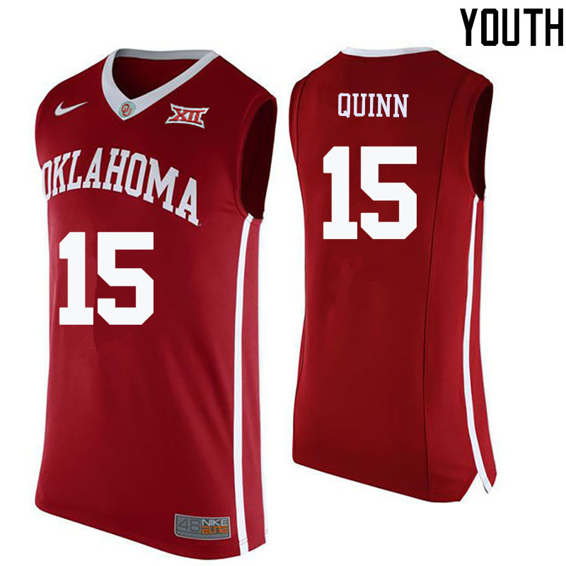 Youth Oklahoma Sooners #15 Grant Quinn College Basketball Jerseys-Crimson