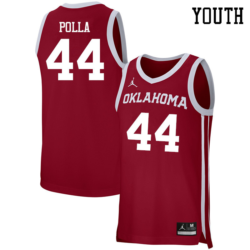 Youth Jordan Brand #44 Hannes Polla Oklahoma Sooners Basketball Jerseys-Crimson