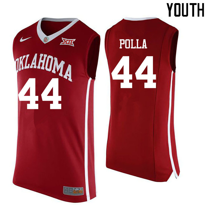 Youth Oklahoma Sooners #44 Hannes Polla College Basketball Jerseys-Red