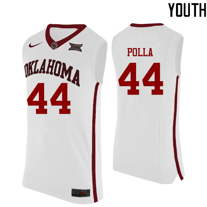 Youth Oklahoma Sooners #44 Hannes Polla College Basketball Jerseys-White