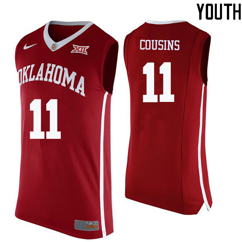 Youth Oklahoma Sooners #11 Isaiah Cousins College Basketball Jerseys-Crimson
