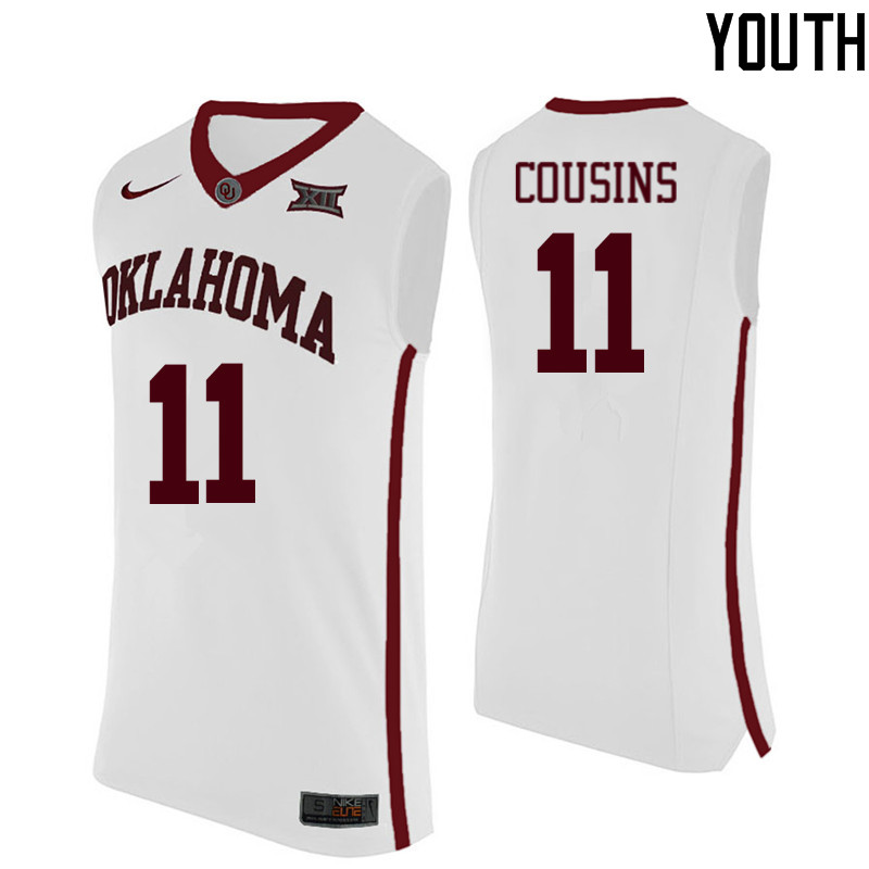 Youth Oklahoma Sooners #11 Isaiah Cousins College Basketball Jerseys-White