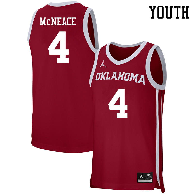Youth Jordan Brand #4 Jamuni McNeace Oklahoma Sooners Basketball Jerseys-Crimson