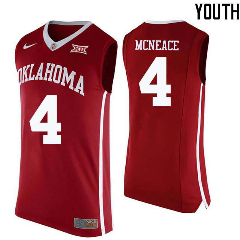 Youth Oklahoma Sooners #4 Jamuni McNeace College Basketball Jerseys-Crimson