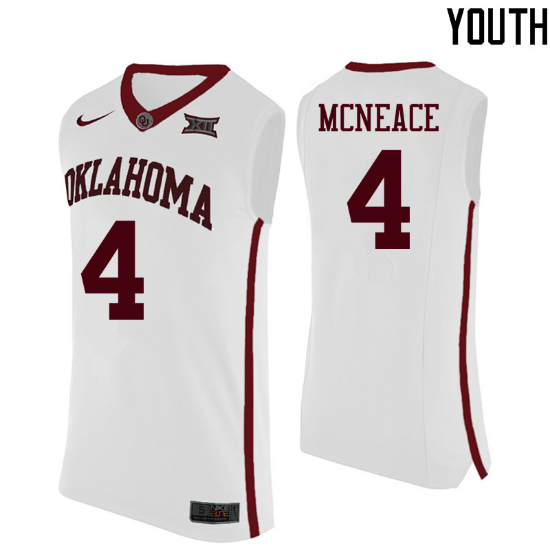 Youth Oklahoma Sooners #4 Jamuni McNeace College Basketball Jerseys-White