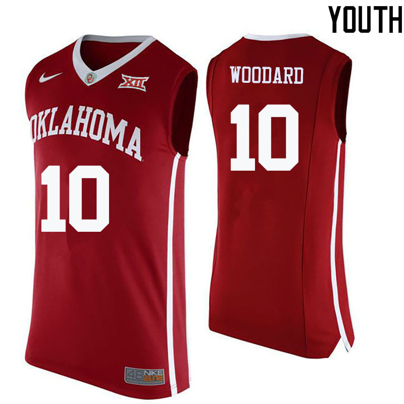 Youth Oklahoma Sooners #10 Jordan Woodard College Basketball Jerseys-Crimson
