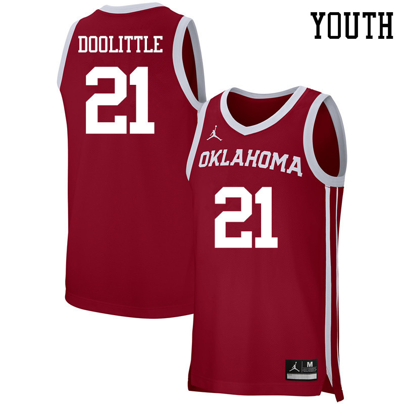 Youth Jordan Brand #21 Kristian Doolittle Oklahoma Sooners Basketball Jerseys-Crimson