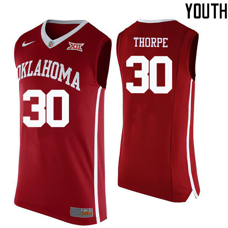 Youth Oklahoma Sooners #30 Marshall Thorpe College Basketball Jerseys-Crimson