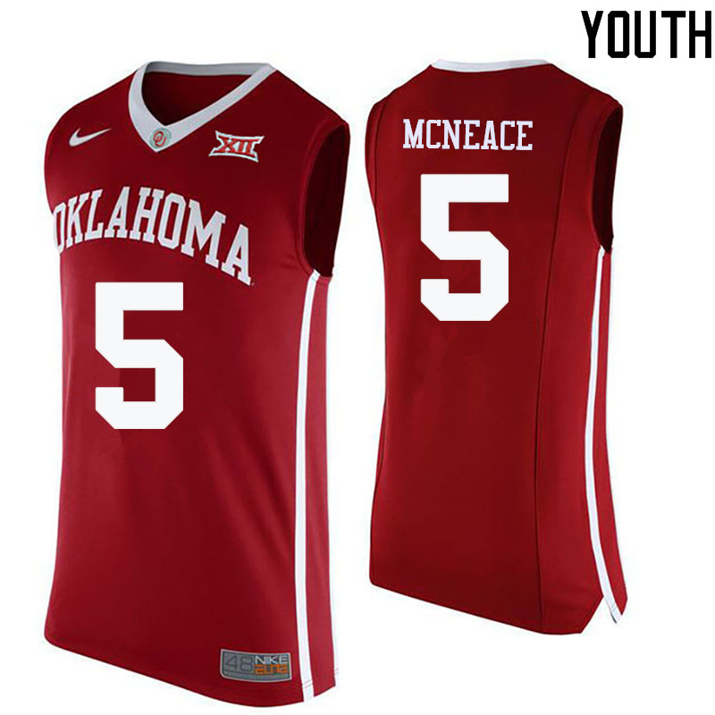 Youth Oklahoma Sooners #5 Matt Freeman College Basketball Jerseys-Crimson