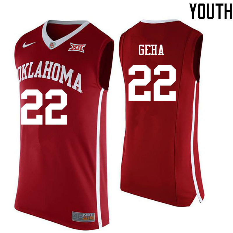 Youth Oklahoma Sooners #22 Patrick Geha College Basketball Jerseys-Red