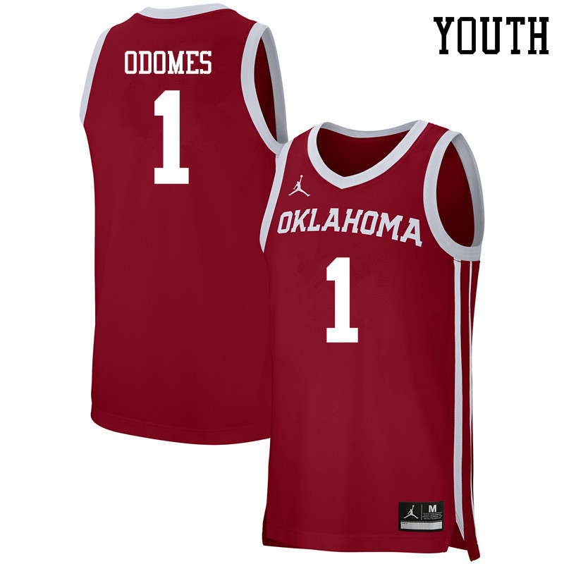 Youth Jordan Brand #1 Rashard Odomes Oklahoma Sooners Basketball Jerseys-Crimson