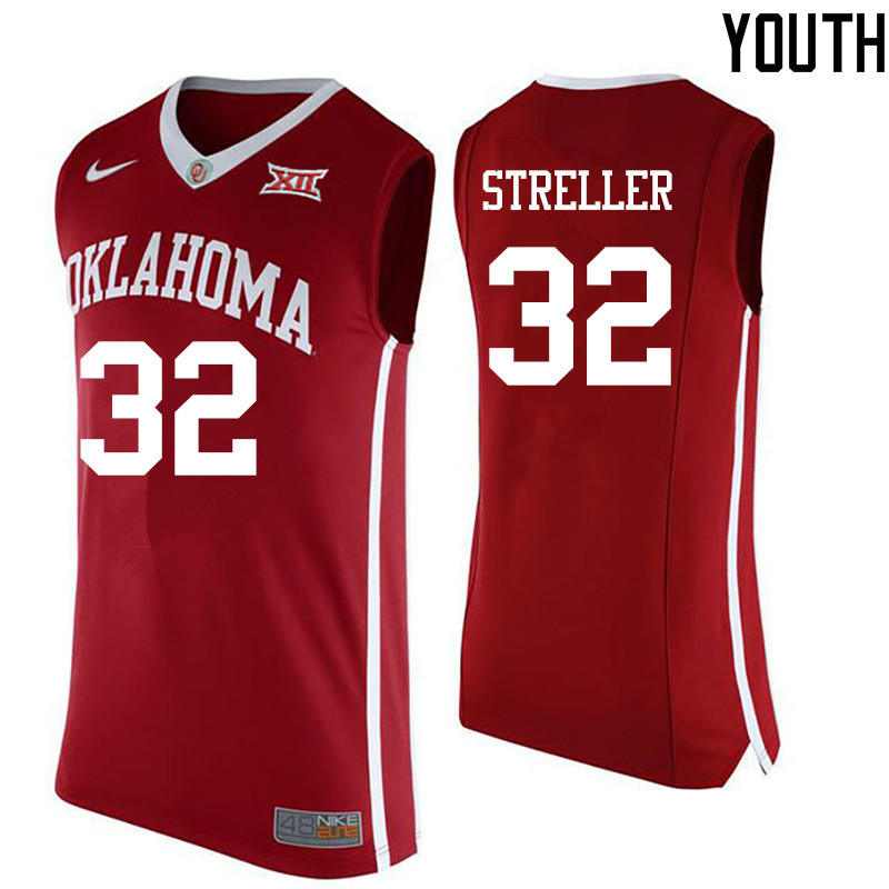 Youth Oklahoma Sooners #32 Read Streller College Basketball Jerseys-Red