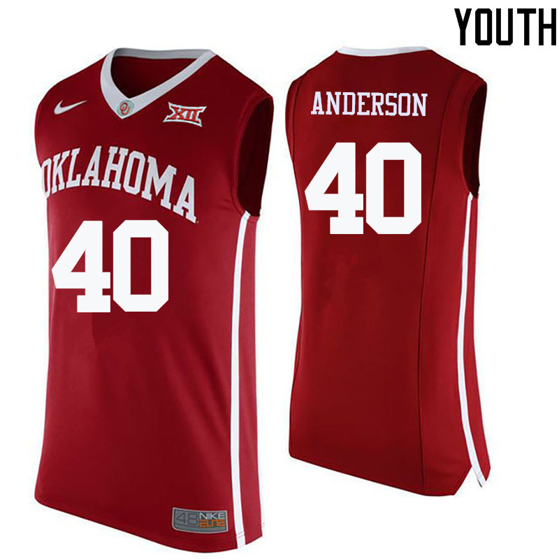 Youth Oklahoma Sooners #40 Richard Anderson College Basketball Jerseys-Crimson