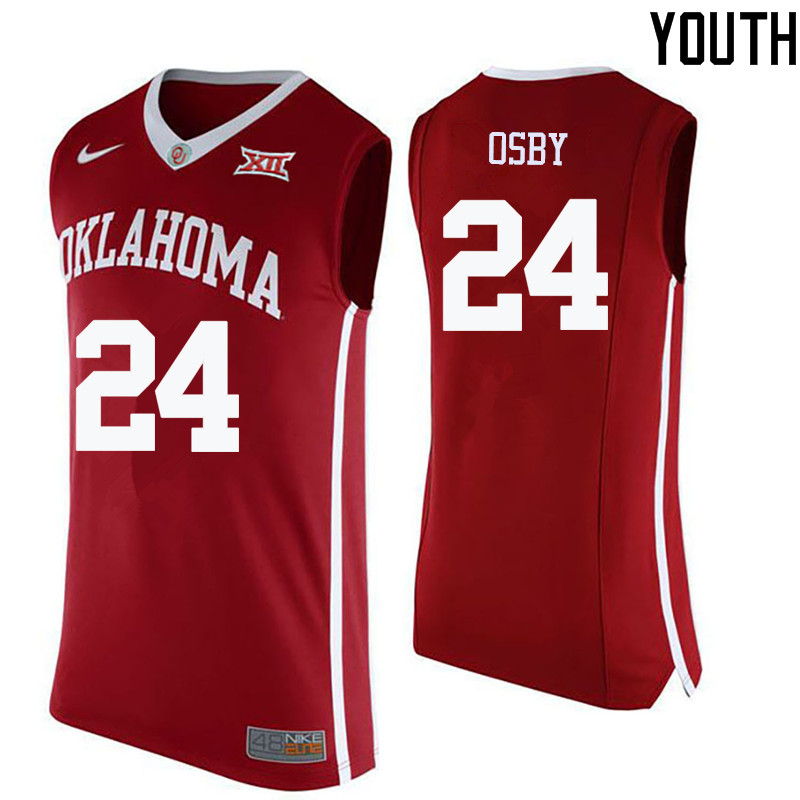 Youth Oklahoma Sooners #24 Romero Osby College Basketball Jerseys-Crimson